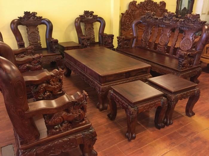 Bộ bàn ghế phòng khách bằng cẩm lai đẹp