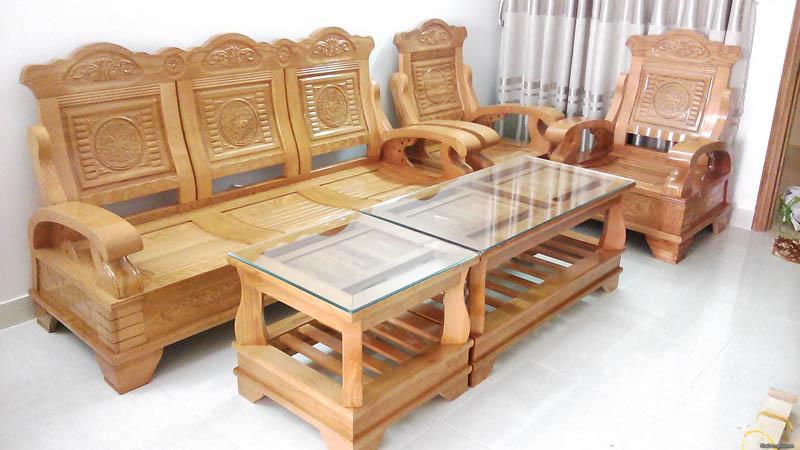 Bộ bàn ghế phòng khách làm bằng gỗ sồi