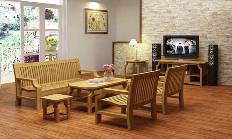 Bộ bàn ghế gỗ phòng khách nhỏ gọn