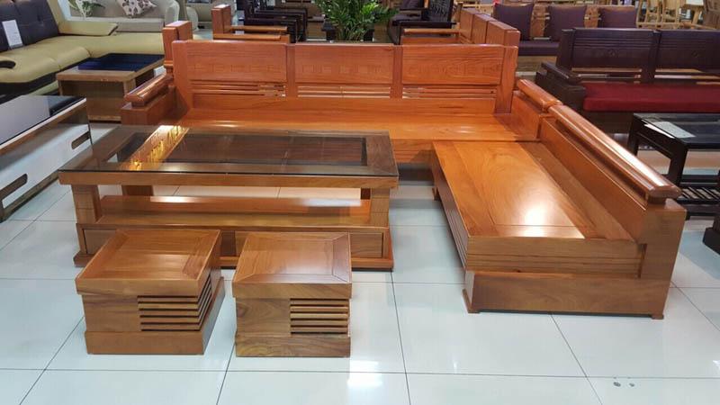 Mẫu bàn ghế gỗ phòng khách chữ L