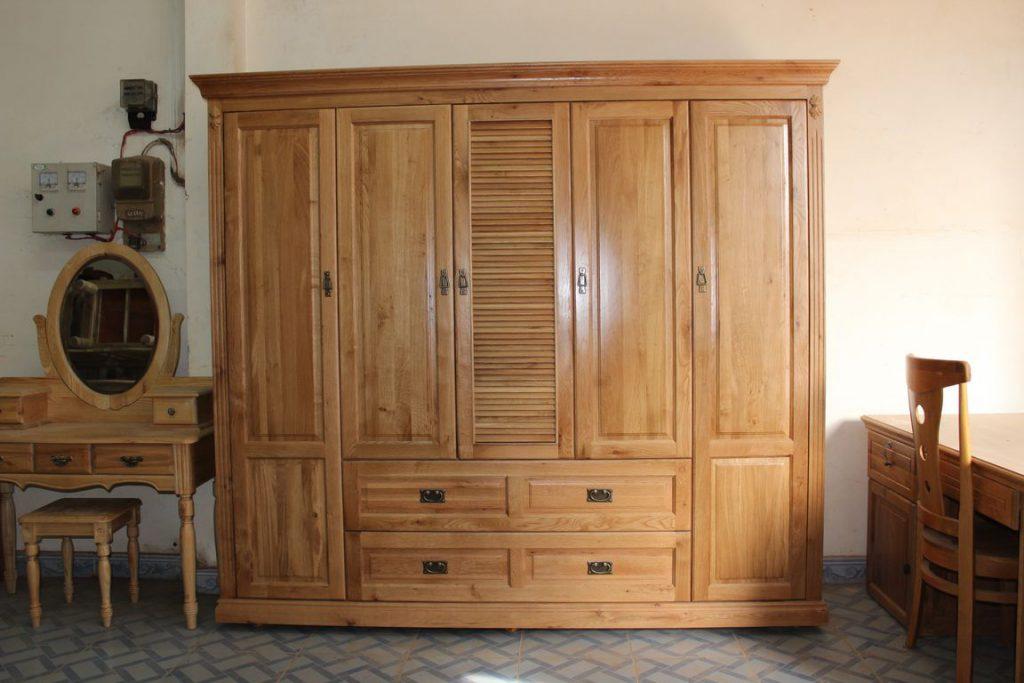 Mẫu tủ quần áo gỗ sồi Mỹ tự nhiên