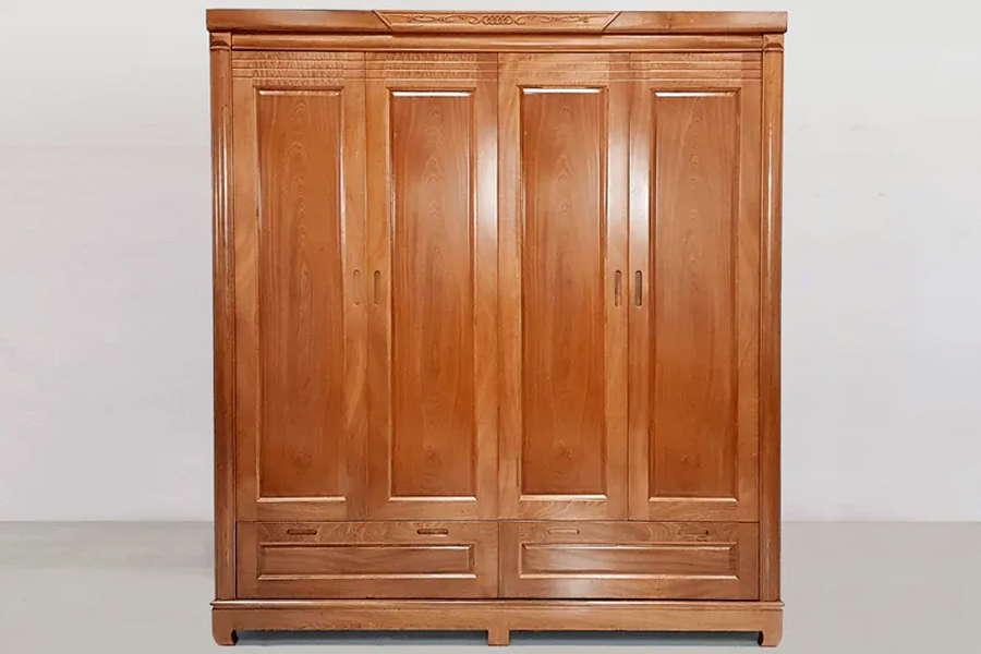 Mẫu tủ quần áo gỗ tự nhiên bằng gỗ xoan đào.