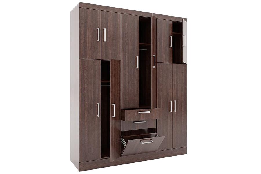 Một mẫu tủ quần áo gỗ cửa mở kiểu hiện đại.