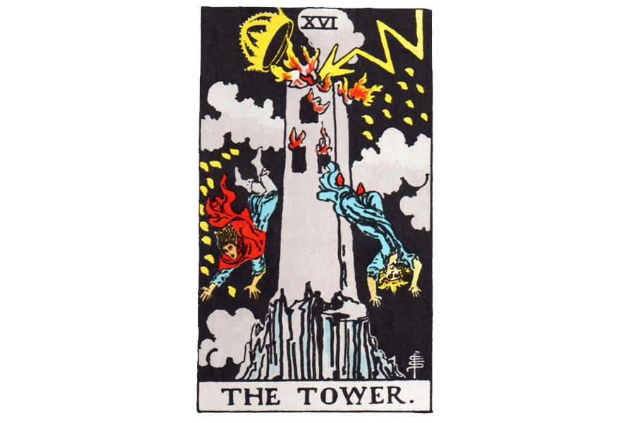 Lá bài The Tower trong Tarot theo chuẩn Rider Waite Smith