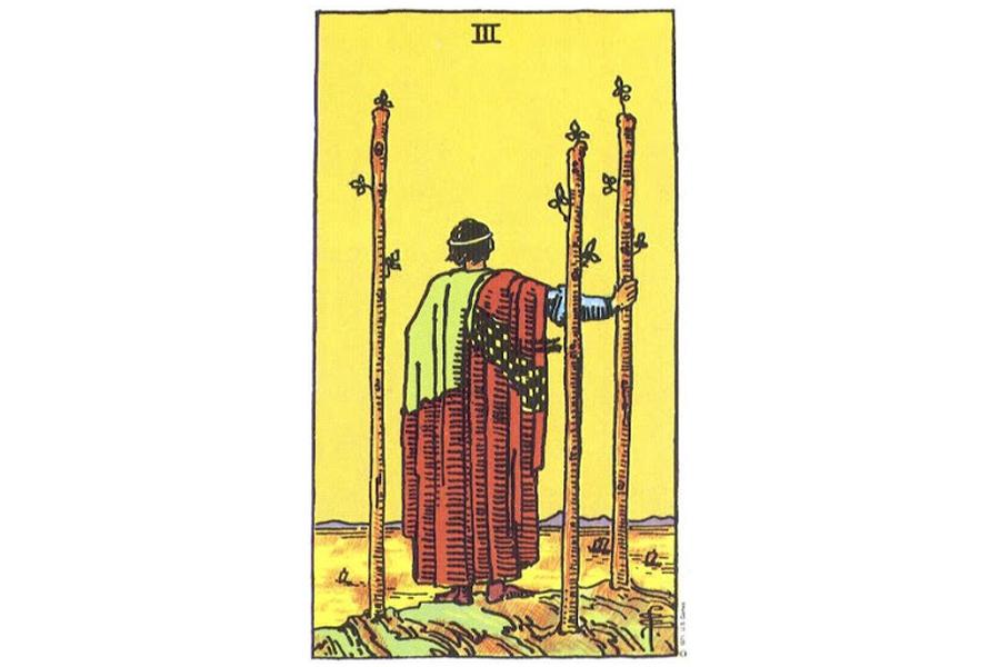 Lá bài Three Of Wands trong Tarot theo chuẩn Rider Waite Smith