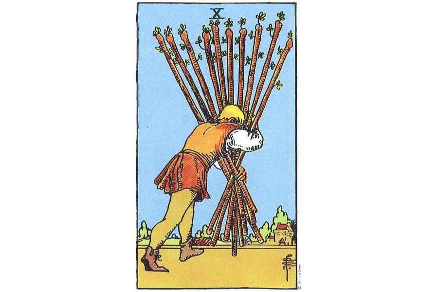 Lá bài Ten Of Wands trong Tarot theo chuẩn Rider Waite Smith