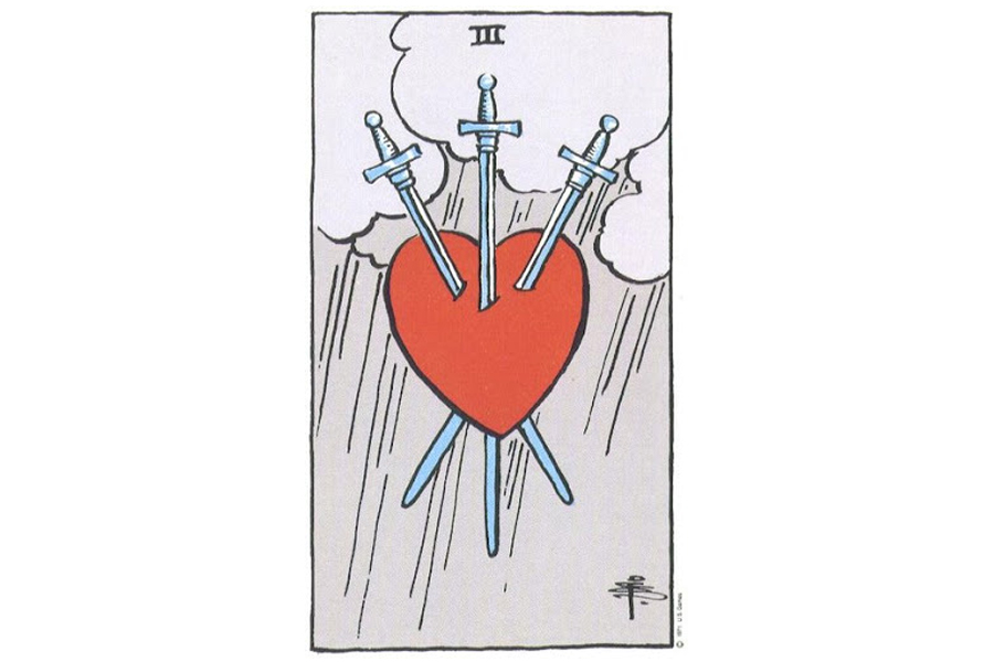 Lá bài Three Of Swords trong Tarot theo chuẩn Rider Waite Smith