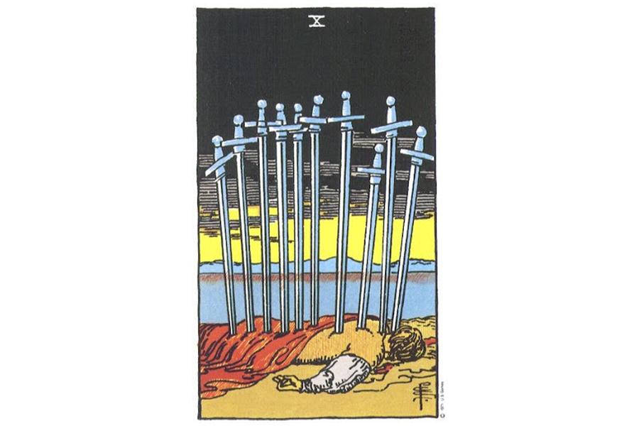 Lá bài Ten Of Swords trong Tarot theo chuẩn Rider Waite Smith