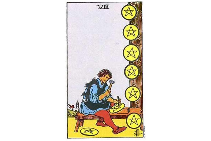 Ý nghĩa lá bài Eight Of Pentacles trong Tarot theo chuẩn Rider Waite Smith 87