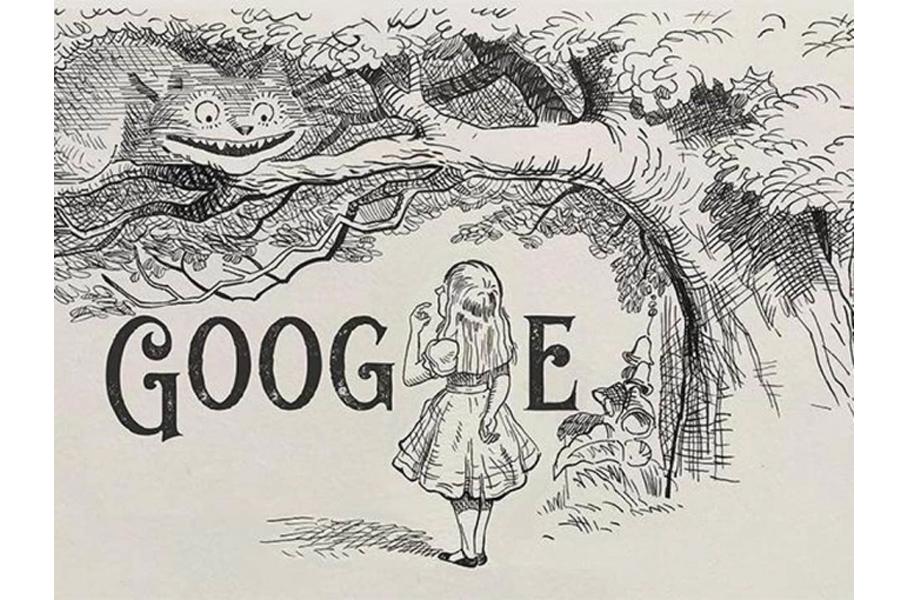 Trong hình ảnh của Google Doodle, bạn có thể để ý thấy Alice (thay thế chữ L) đang nhìn lên con mèo Cheshire.