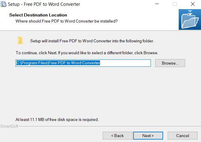 Chọn nơi lưu trữ phần mềm Free PDF to Word Converter