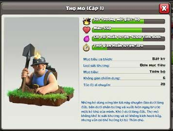 Miner Clash of Clan - Thợ Mỏ Clash of Clans 2