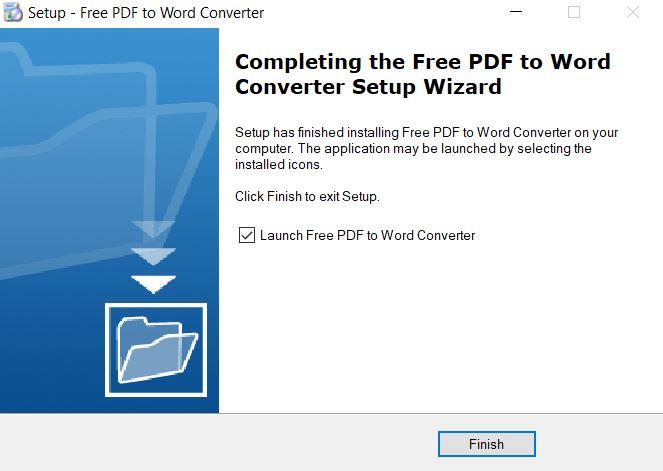 Cài đặt thành công phần mềm Free PDF to Word Converter