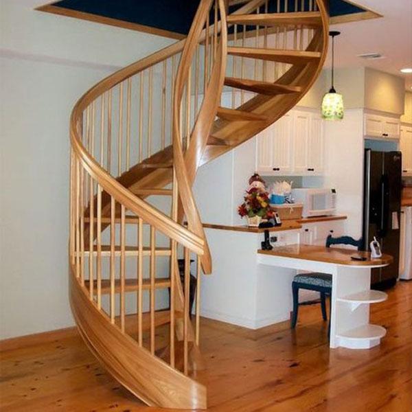 Mẫu cầu thang xoắn bằng gỗ đẹp