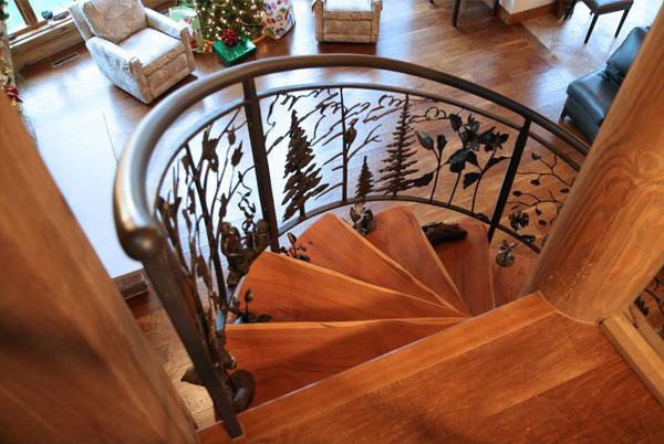 Mẫu cầu thang gỗ thanh chắn bằng kính