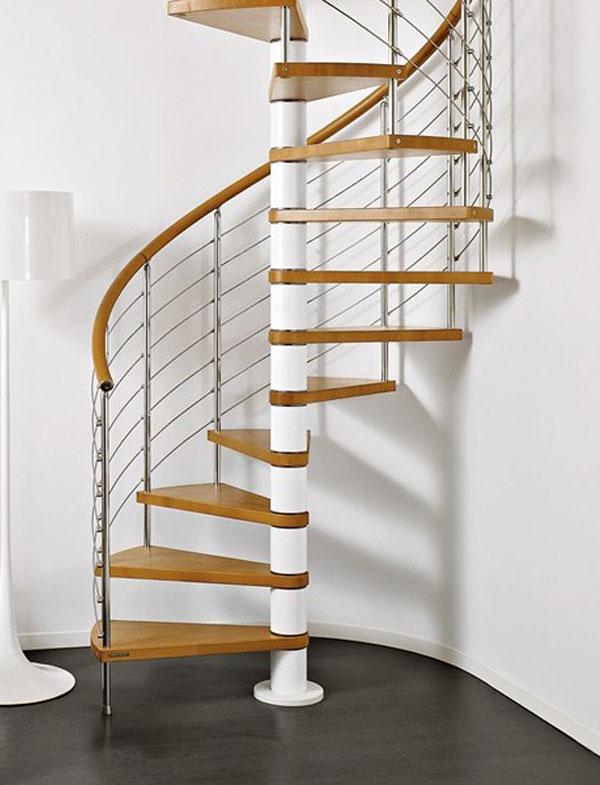 Cầu thang xoắn bằng inox và gỗ
