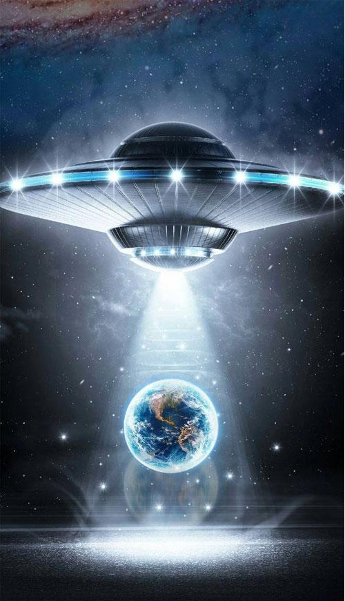 Hình nền đen dành cho điện thoại iphone chủ để UFO bao chất