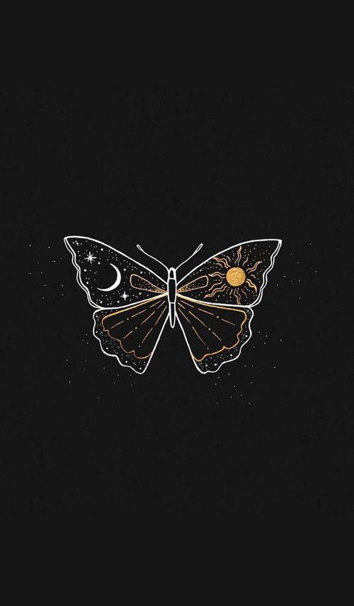 Hình nền đen chủ để bướm dành cho điện thoại