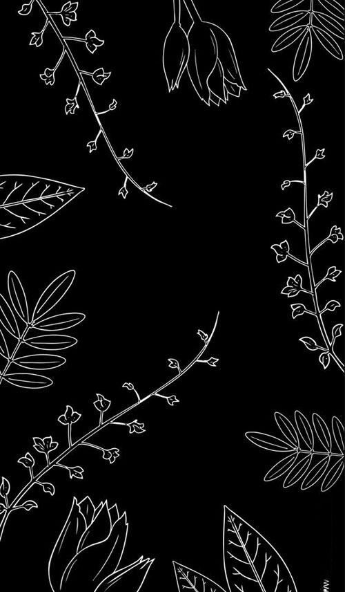 Hình nền đen đẹp ngầu về cây lá