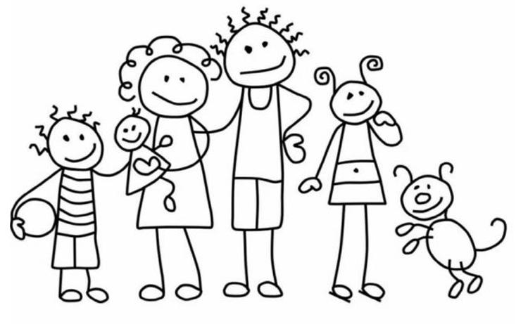 Tranh tô màu gia đình vui vẽ