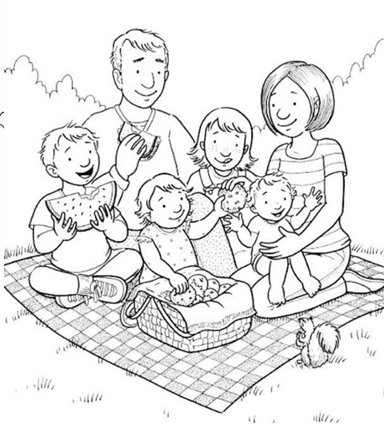 Tranh tô màu gia đình cùng đi picnic