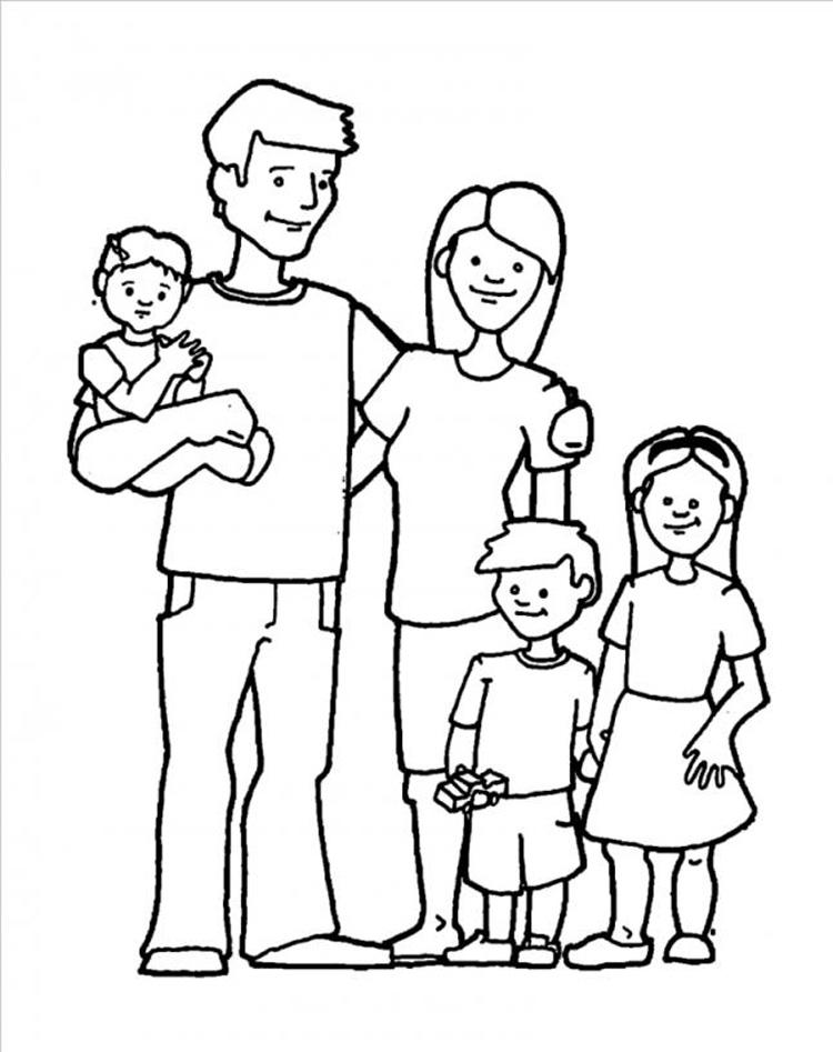 Tranh tô màu gia đình 5 người
