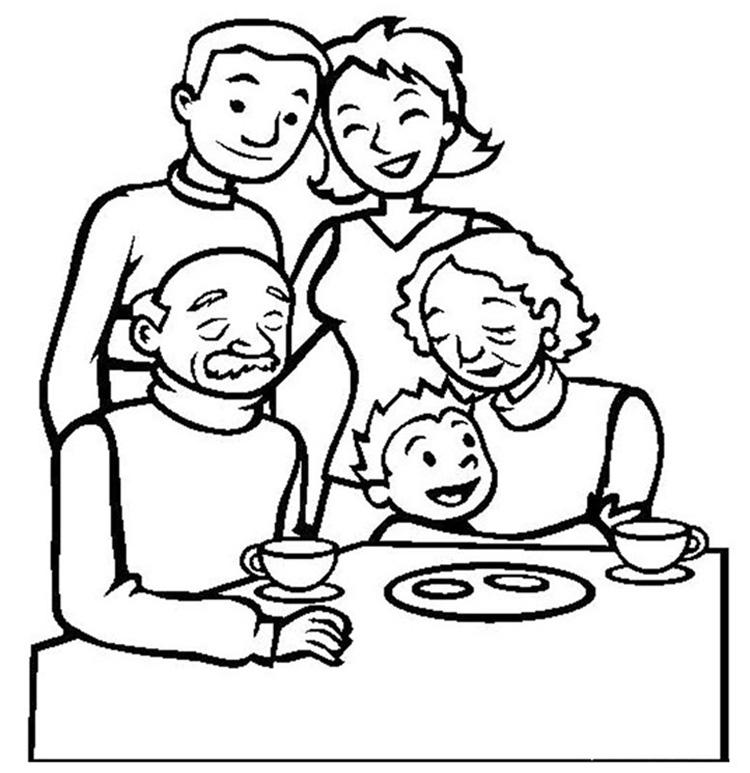 Tranh tô màu gia đình ngày tết hạnh phúc
