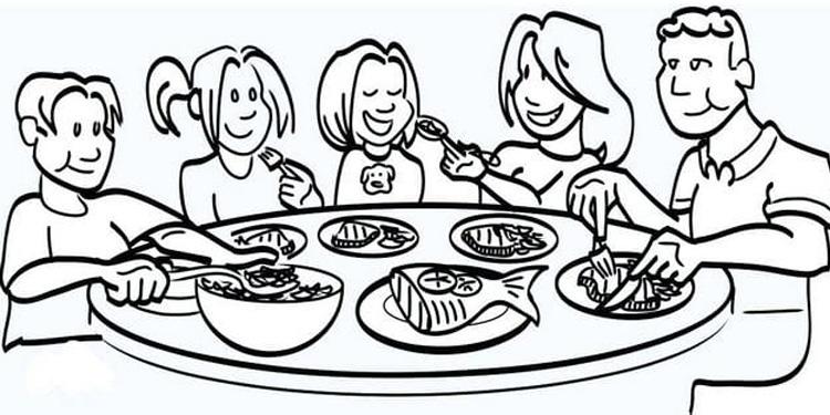 Tranh tô màu gia đình bữa cơm ngày tết