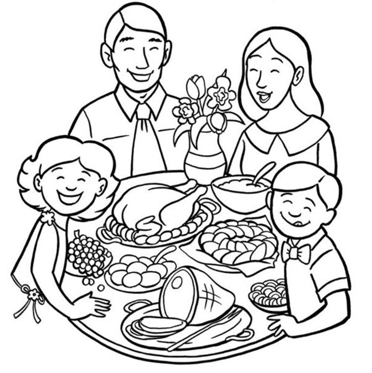 Tranh tô màu gia đình ngày tết vui vẽ