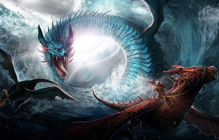 Hình ảnh đẹp 3D 2 chú rồng đang đánh nhau