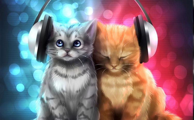 Hình ảnh đẹp 3D hai chú mèo nghe nhạc