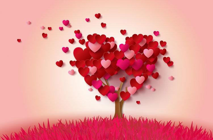 Hình ảnh 3d đẹp cây hình trái tim màu đỏ