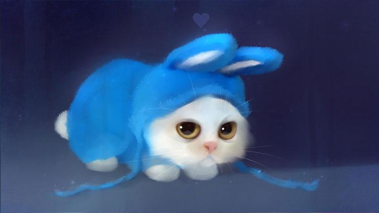 Chú mèo 3d bé xinh cute