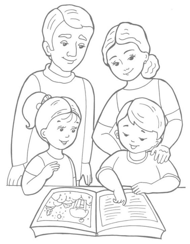 Tranh tô màu gia đình 4 người