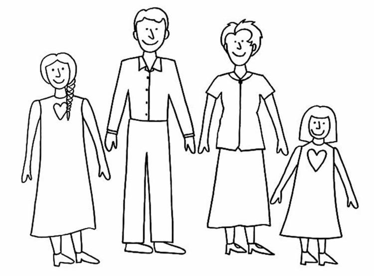 Tranh tô màu gia đình 4 người cùng nắm tay nhau vui vẽ