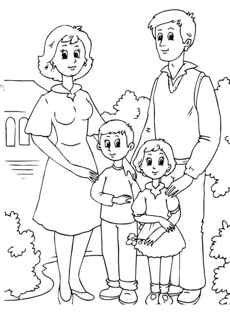 Tranh tô màu gia đình 4 người  hạnh phúc