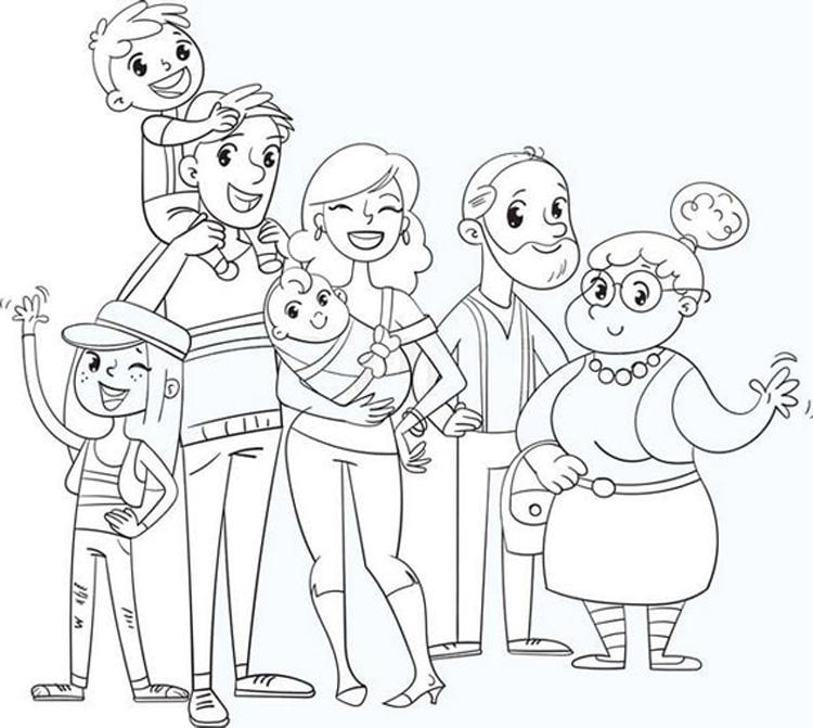 Tranh tô màu gia đình nhiều thế hệ