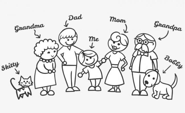 Bộ tranh tô màu gia đình hạnh phúc