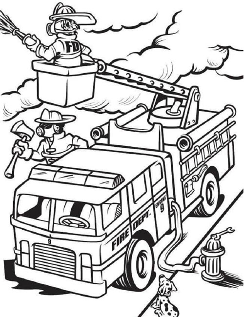 Tranh tô màu xe ô tô cứu hỏa 7