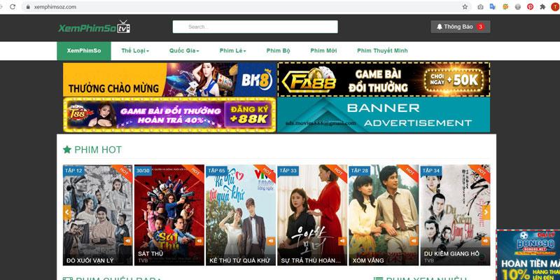 Trang web xem phim Xemphimso.com