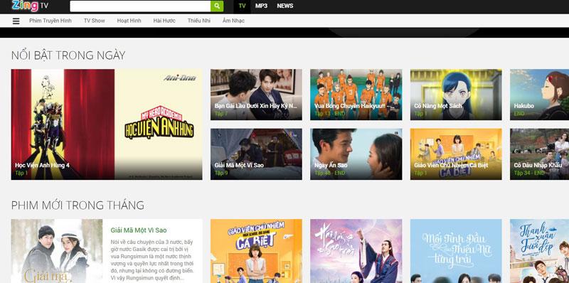 Trang web xem phim tv.zing.vn